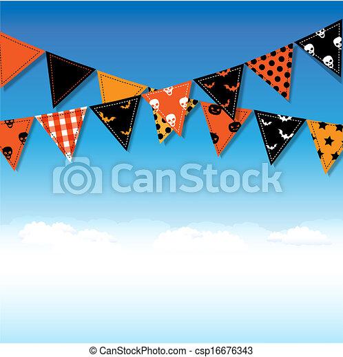 bunting, dia das bruxas, bandeiras, céu - csp16676343