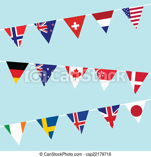 Bunting with flags of the most developed countries in the World - csp22179716
