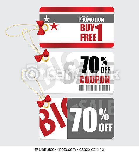buono, fine, set, prezzo, etichette, vendita, vou, risparmi, anno, etichetta - csp22221343