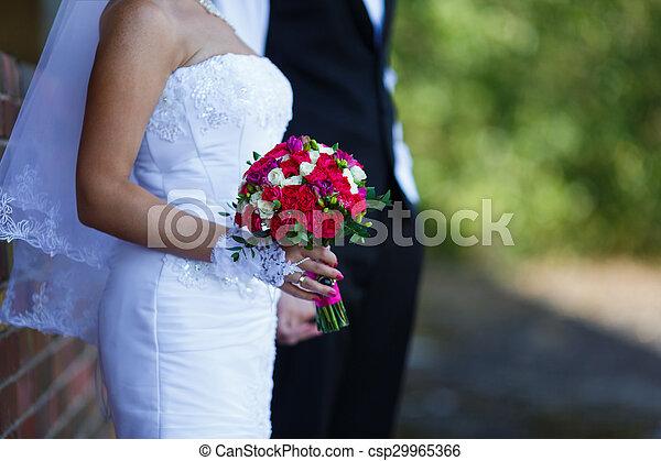 buquet, noiva, nupcial, mãos - csp29965366