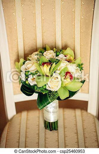 buquet, nupcial, flores, branca - csp25460953