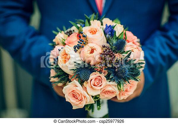 buquet, nupcial, flores, vermelho - csp25977926
