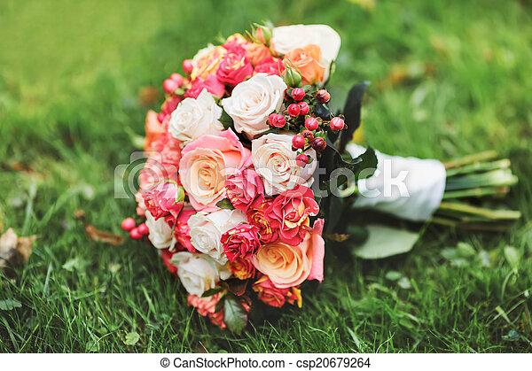 buquet, nupcial, vário, flowers. - csp20679264