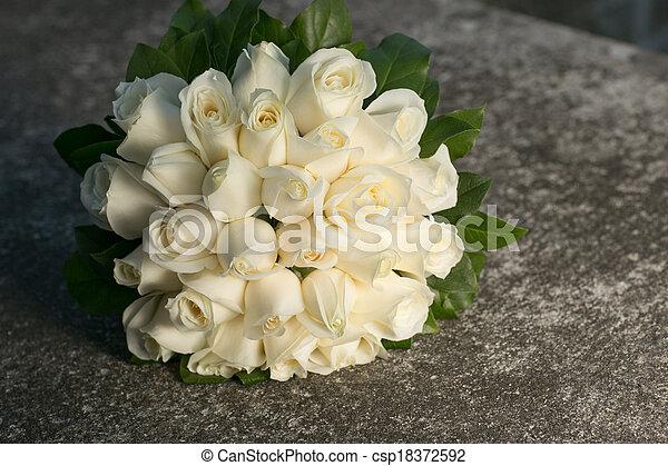 buquet, rosas, nupcial, casamento branco - csp18372592