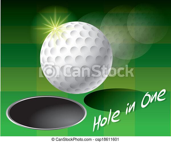 buraco, bola, golfe, borda - csp18611601