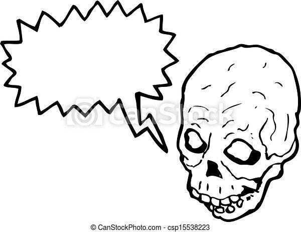 Cráneo de dibujos animados con burbuja de habla - csp15538223