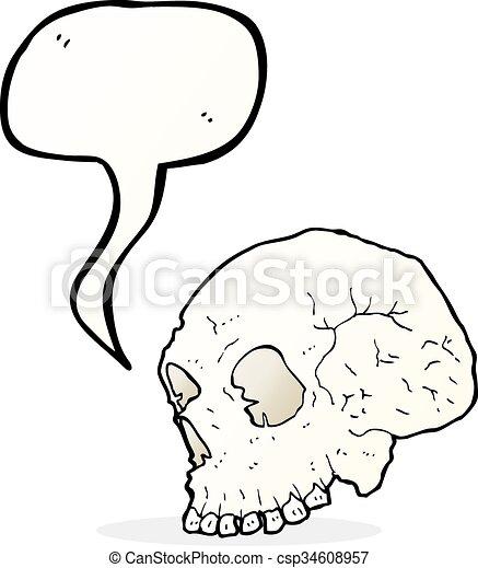 Ilustración de cráneo con burbuja de habla - csp34608957