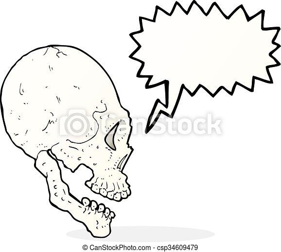 Ilustración de cráneo con burbuja de habla - csp34609479