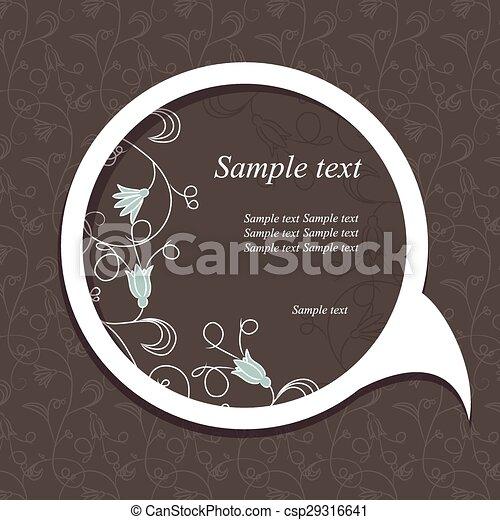 Burbuja de habla con elementos florales - csp29316641