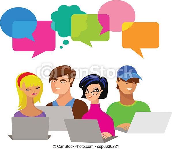 Gente joven con burbujas de habla y computadoras - csp6638221