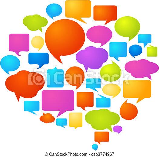 burbujas, discurso, colorido - csp3774967