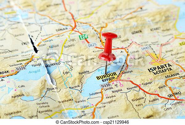 burdur turkey map Close up of burdur turkey map with red stock