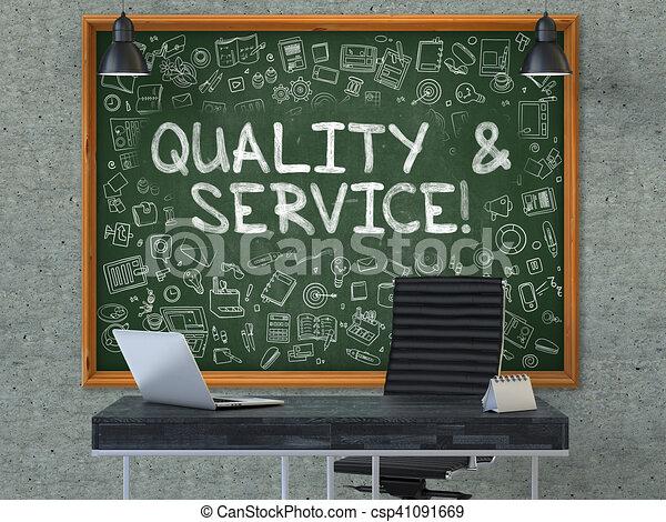 Bureau d qualité tableau service illustration gris style