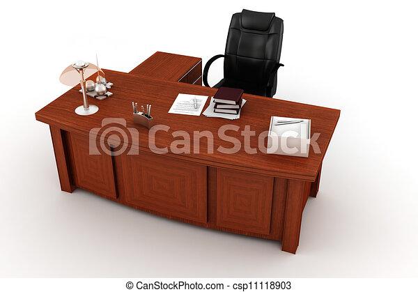 bureau, blanc, cadre, 3d - csp11118903