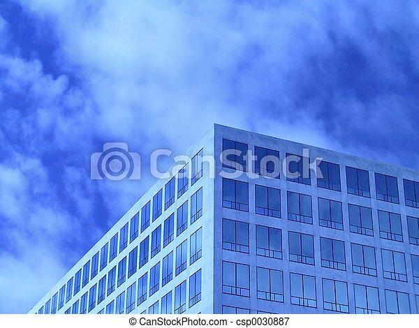 bureau, bleu, fenetres - csp0030887
