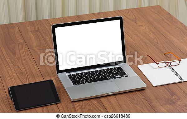 Bureau bois écran accessoires informatique t vide ordinateur