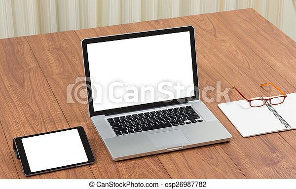 Bureau à domicile tidy avec table en bois et l ordinateur blanc à
