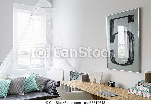 Bureau bois, moderne, lit, chambre à coucher, petit, élégant ...