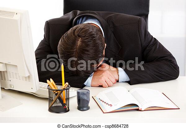 Bureau business fatigué dormir bureau homme