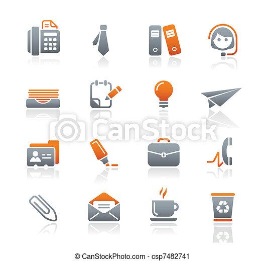bureau, business, &, icônes, /, graphite - csp7482741