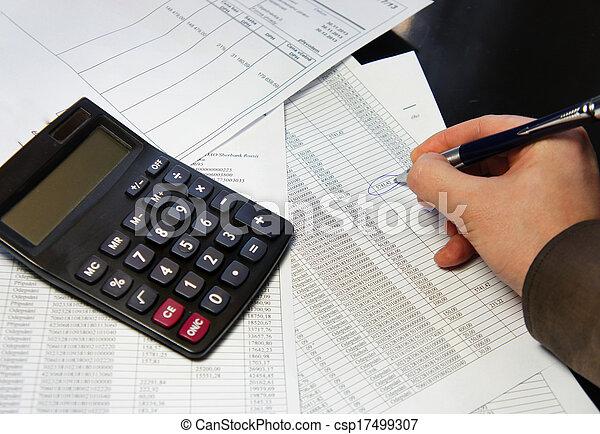 bureau, calculatrice, stylo, table, comptabilité, document - csp17499307