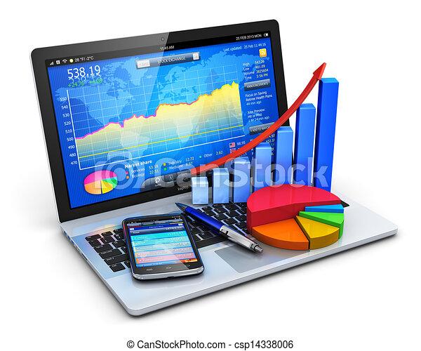 bureau, concept, mobile, banque - csp14338006