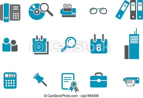 bureau, ensemble, icône - csp1884006