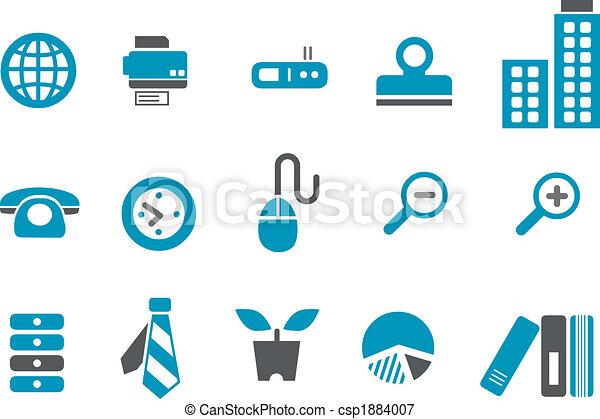 bureau, ensemble, icône - csp1884007