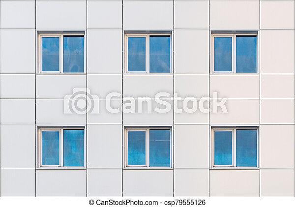 bureau, extérieur, bâtiment, soir, time. - csp79555126