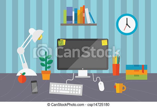 bureau fonctionnant, espace - csp14725180