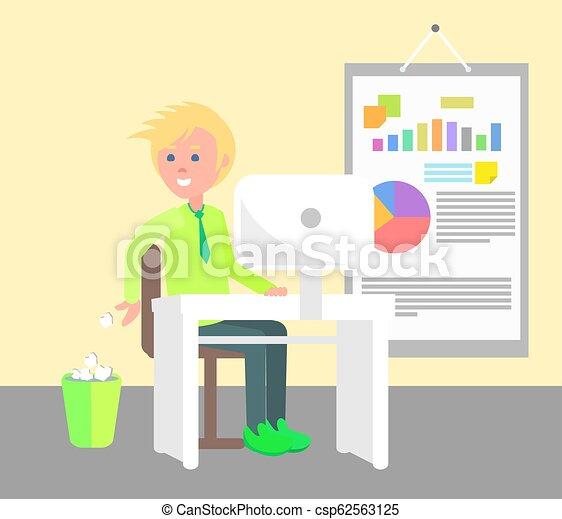 bureau fonctionnant, illustration, gai, vecteur, homme - csp62563125