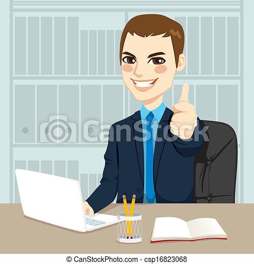bureau, fonctionnement, homme affaires - csp16823068