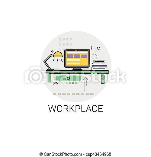 bureau informatique lieu travail espace de travail clip art vectoriel rechercher des. Black Bedroom Furniture Sets. Home Design Ideas