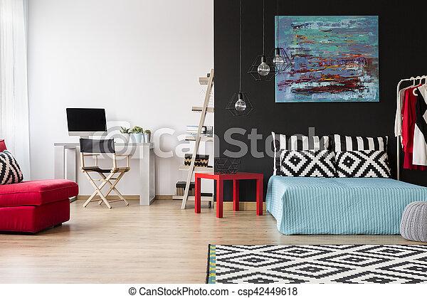 Bureau maison chambre à coucher. maison moderne studio bureau