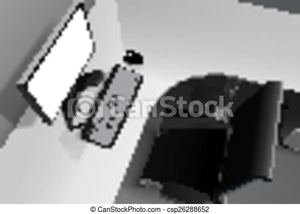 Bureau moderne informatique bureau noir chaise vecteur
