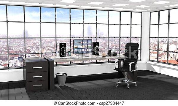 Bureau moderne intérieur fenêtre cityscape vue.