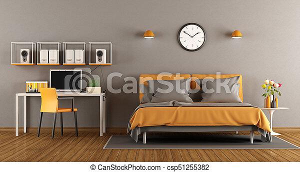 Bureau Moderne Chambre : Bureau moderne lit rendre chambre à coucher d double