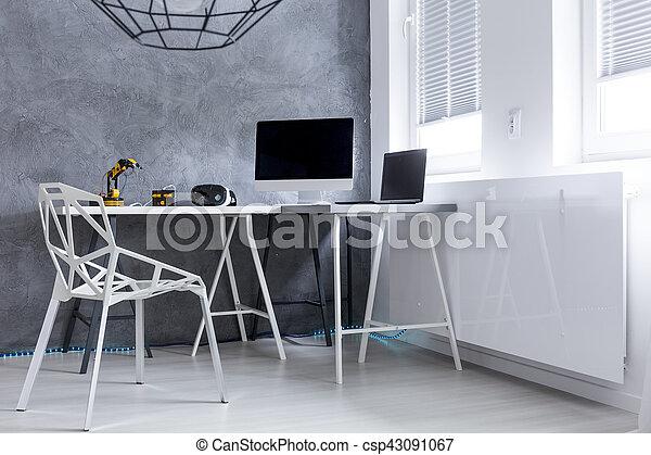 Bureau moderne salle ordinateurs gris coup salle moderne