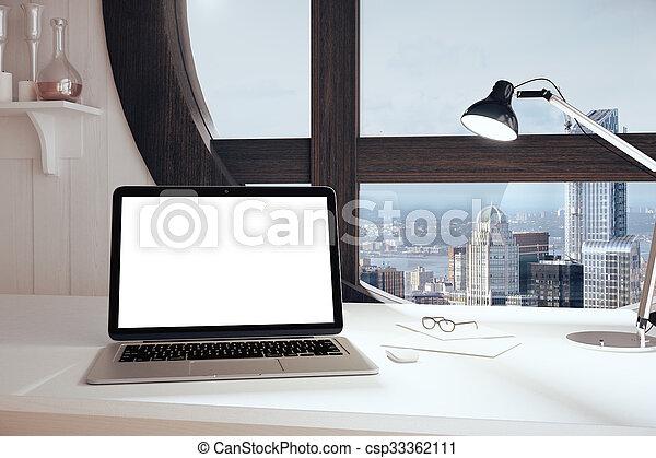 Bureau d ordinateur blanc laqué mat novomeuble