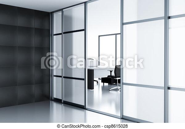 Bureau ordinateur portable moderne verre derrière portes