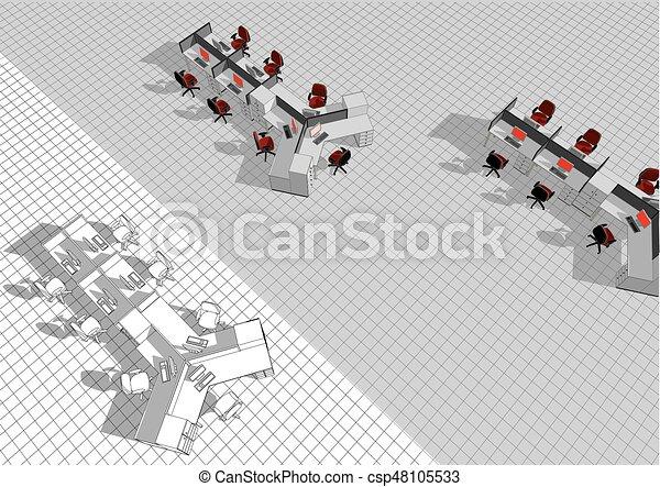 bureau plan ouvert - csp48105533