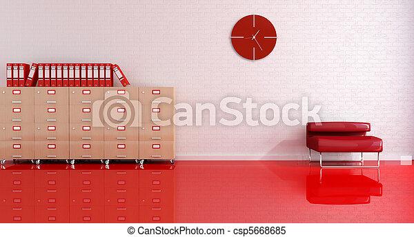 bureau, réception, rouges - csp5668685