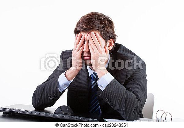 bureau, séance, fatigué, homme affaires - csp20243351