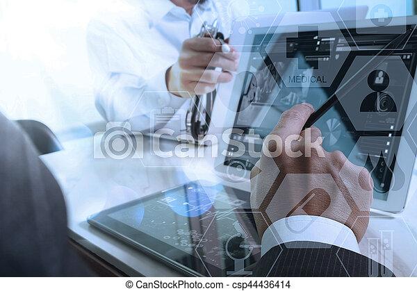 Bureau tablette graphique fonctionnement docteur bois icônes