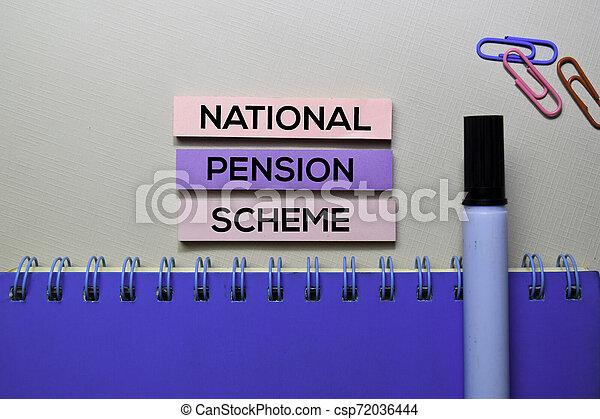 bureau, texte, national, isolé, collant, pension, bureau, plan, notes - csp72036444
