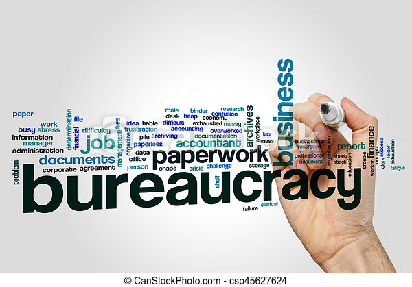Bureaucracy word cloud on grey background - csp45627624