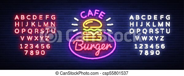Burger cafe neon sign  Fastfood burger sandwich neon logo, bright banner,  design template, night neon advertising for dining restaurant, street food