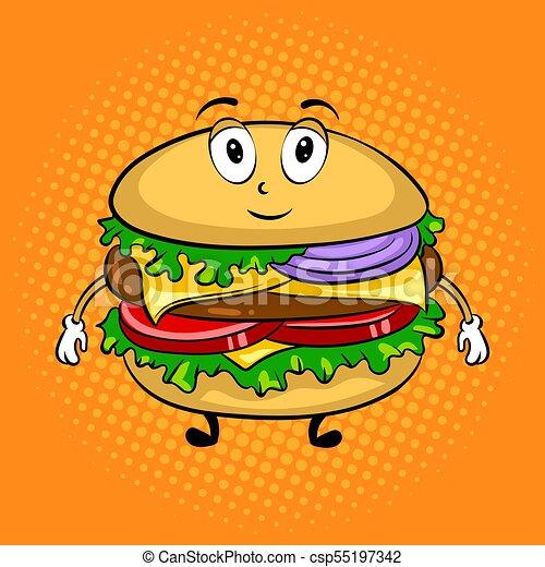 burger cartoon pop art vector illustration burger sandwich cartoon character pop art retro vector illustration cartoon food https www canstockphoto com burger cartoon pop art vector 55197342 html