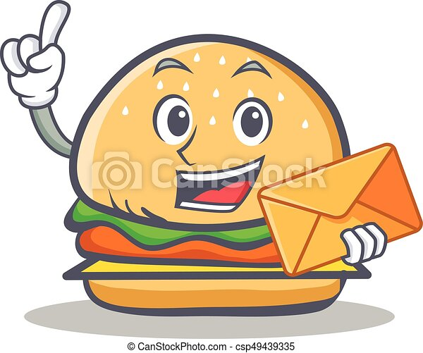 burger character fast food with envelope vector illustration vectors rh canstockphoto ie fast food clipart black and white fast food clipart png