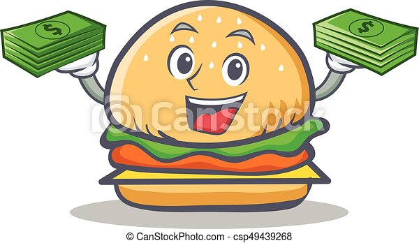 burger character fast food with money - csp49439268